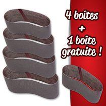 Lot 4 boîtes de 10 bandes courtes Abranet + 1 boîte offerte 100 x 610 mm