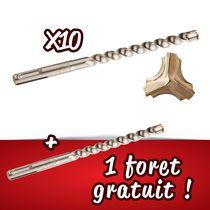 Lot 10 forets béton techpro + 1 gratuit