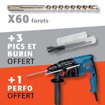 Lot 60 forets SDS-plus + 3 pics et burin + 1 perforateur offert